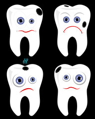 Ill tooth vector set