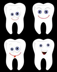 Happy tooth vector set