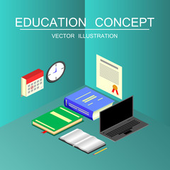 Isometric education and graduation vector concept. 3d back to sc