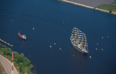 Regatta, sailing aerial view. Sailing boats and yachts. Tall shi