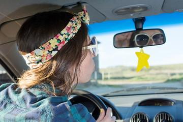 Female driver in a car