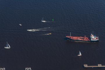 Regatta, sailing aerial view. Sailing boats and yachts. Tall shi