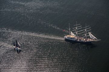 Tall ship race. Regatta in Baltic sea. Latva.