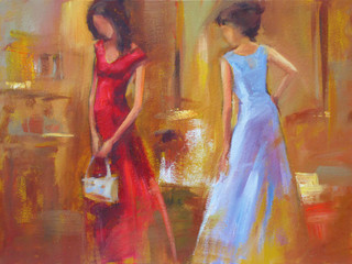 Female figures handmade painting
