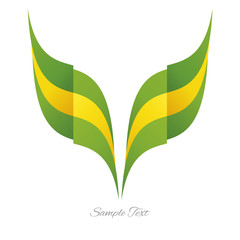 Abstract Brazilian eagle flag ribbon logo white background
