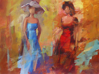 Female figures handmade painting
