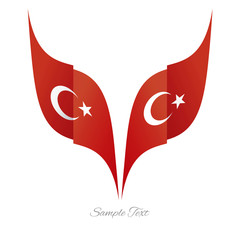 Abstract Turkish eagle flag ribbon logo white background