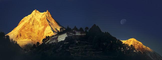 Himalayas. Ribum monastery. Nepal. Manaslu region.