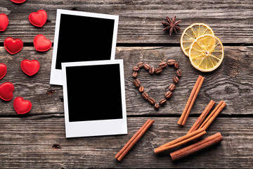 Blank instant photo frames with small heart shapes
