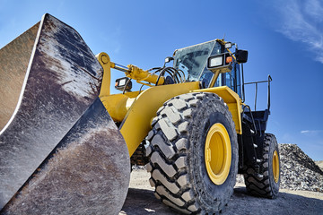 Heavy equipment machine wheel loader on construction jobsite Wall mural