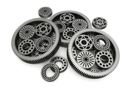 gears aluminium isolated on white background. 3d image