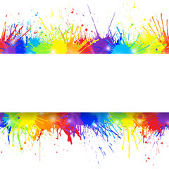 White banner on seamless colorful paint splashes background. Vector illustration.