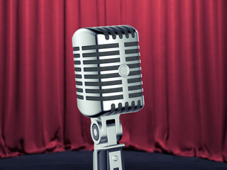 Retro microphone on the stage. 3d rendering