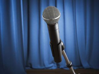 Modern microphone microphone on the stage. 3d rendering