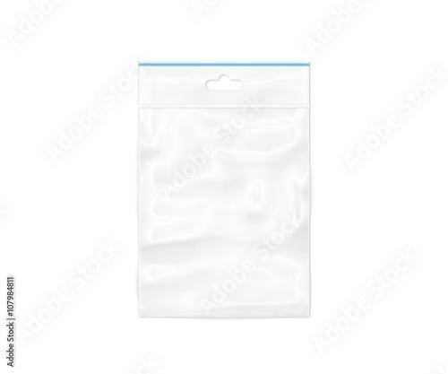 Plastic transparent zipper bag 3D illustration