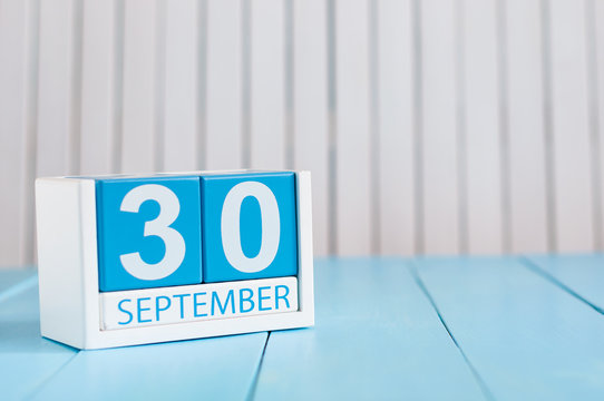 September 30th. Image of september 30 wooden color calendar on white background. Autumn day. Empty space for text. International Translation Day