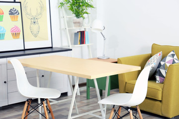 Modern room design. Furniture set with table and chairs