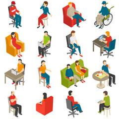 Sitting People Isometric Icon Set