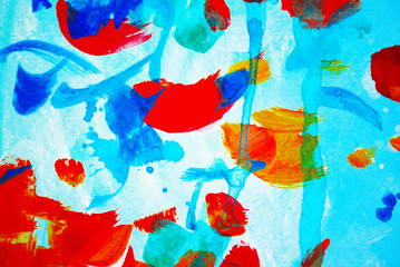 abstract composition with leaves and petals of roses, watercolor