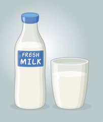 Bottle of Milk and a Glass of Milk Vector