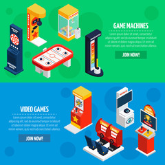 Game Machines 2 Isometric Banners Set