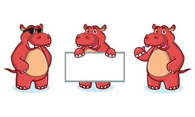 Red Hippo Mascot happy