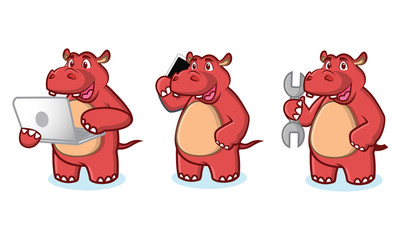 Red Hippo with laptop