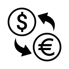 Foreign currency exchange line art icon for apps and websites