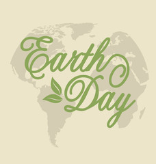 Background for Earth Day Holiday, Lettering Text. Retro Style