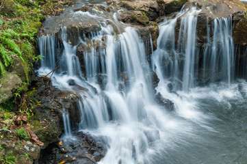 Waterfalls in Vallee des Couleurs. National Park Cascades. Mauritius Island