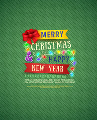Christmas and New Year poster. Vector Christmas Messages and objects on knitting background.