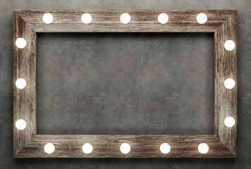Wooden frame on concrete background illuminated by light bulbs. 3D rendering