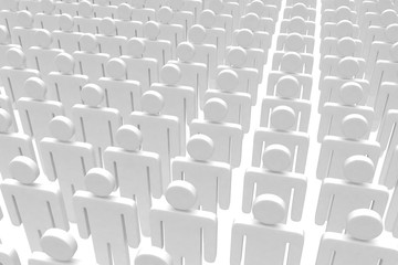 group of people figures on white background. 3d rendering.