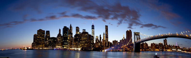 Panoramic of lower Manhattan in New York City showing the new World Trade Center Freedom Tower just after sunset,  Summer 2014  5 pictures were used to make this large panoramic image