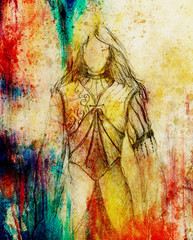 sketch of mystical woman  in beautiful ornamental dress  inspired by middle age design.