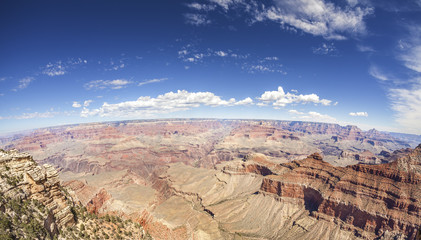 Fisheye lens picture of the Grand Canyon South Rim. The Park is one of the top tourist destinations in the United States.