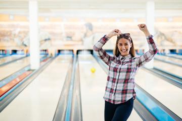 Happy woman celebrating success