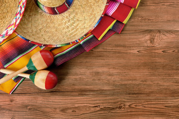 Mexico cinco de mayo wood background mexican sombrero