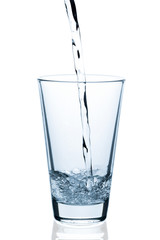 pouring water into empty glass