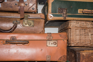 old luggages of migrant people