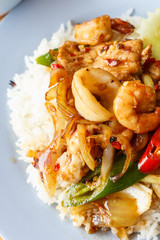 Rice with Fried sweet peper with pork meat ,shrimp,squid