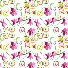 Sushi rolls and flowers seamless pattern. Vector illustration.