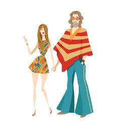 Vector illustration of two hippies