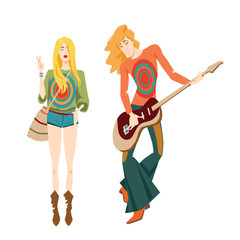 Vector illustration of two hippies in cartoon style
