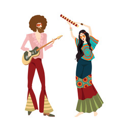 Vector illustration of two hippies playing musical instruments and dancing, in cartoon style