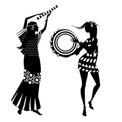 Vector illustration of two hippie girls, silhouette