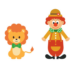 lion and clown vector