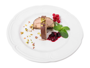Delicious foie gras covered with dark chocolate.