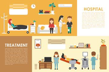 Hospital Treatment flat medical hospital interior concept web vector illustration. Doctor, Patients, Queue, Medicine service