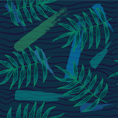 Vector floral pattern. tropical leaves seamless background.